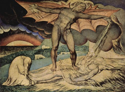 William Blake: The examination of Hiob: Satan pours on the plagues of Hiob