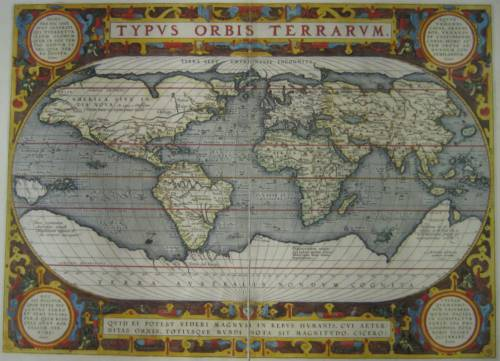 Abraham Ortelius, Typus orbis terrarum, 1595 (https://upload.wikimedia.org/wikipedia/commons/e/e4/World_Map_1595.JPG)